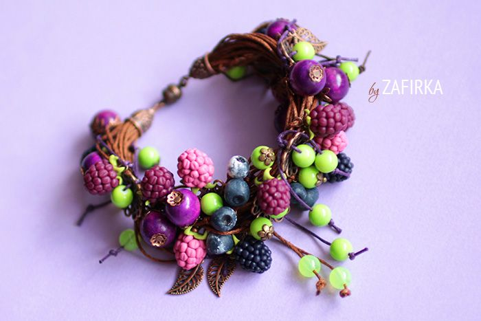 Blackberries and blueberries bracelet