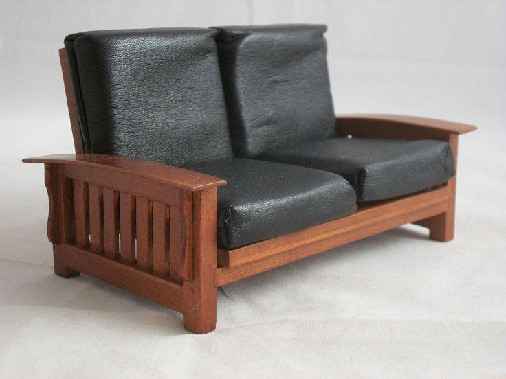 Mission Craftsman Sofa Settee T6236  miniature dollhouse furniture 1/12 scale #TownsquareMiniature $14.95