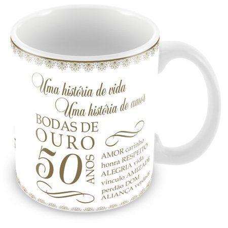 Caneca Porcelana Personalizada Bodas de Ouro
