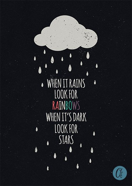 Typography Print – When it rains look for rainbows, when it's dark look for stars – inspirational quote – motivational print