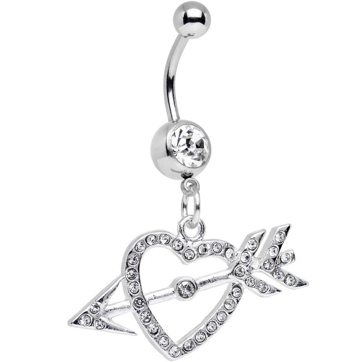 Clear Gem Cupid's Arrow Hits the Heart Dangle Belly Ring