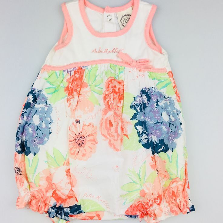 Peter Rabbit, baby girl's cotton floral summer playsuit, good pre-loved condition (GUC), size 000, $15 #playsuit #jumpsuit #kidsfashion