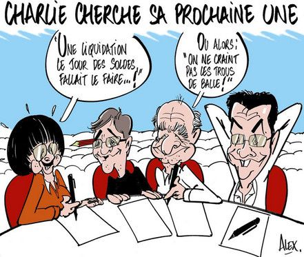 Le dessinateur du Courrier Picard Alex rend hommage à Charlie Hebdo en imaginant les dessinateurs cherchant la Une @alexdessinateur