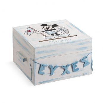 Ξύλινο κουτί ευχών βάπτισης Mickey