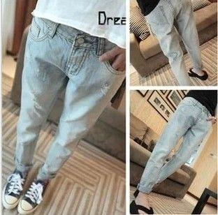 Америка по-прежнему весной 2014 новые корейские женщины красивый ковбой классические небольшое отверстие крах брюки джинсы - Taobao