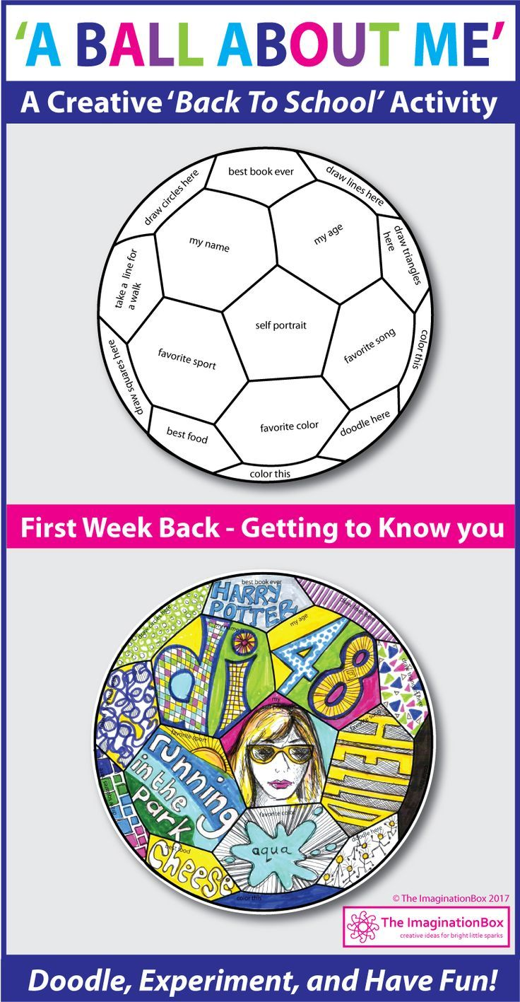 'A Ball About Me', a fun first week back to school art activity. This soccer ball template invites children to respond to prompts in a personal, imaginative way using doodles, mark making, graffiti style lettering and imagery. Click on the link for more information and images