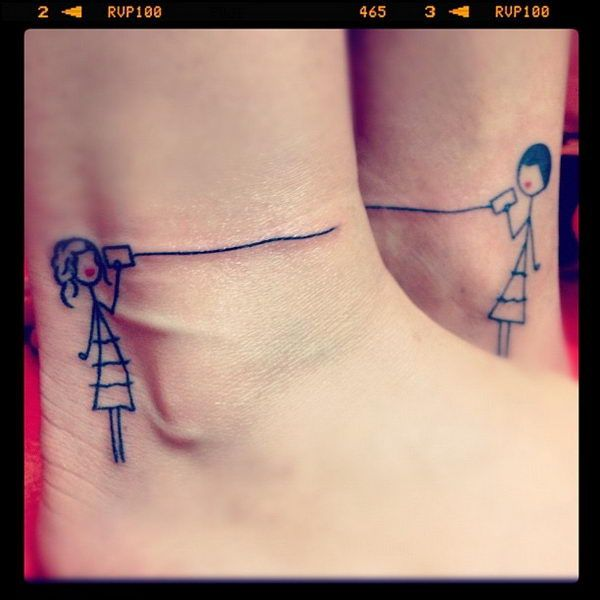 40  Creative Best Friend Tattoos, http://hative.com/creative-best-friend-tattoos/, this little telephone can one is adorable