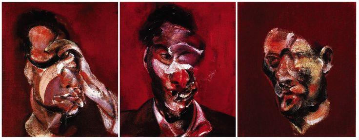 Francis-Bacon-Three-Studies-for-a-Portrait-of-Lucian-Freud-2.jpg (1547×604) francis bacon paintings  plastic arts, visual arts, fine arts, art, black