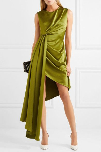 c796c157deb Off-White - Asymmetric Printed Satin Dress - Sage green