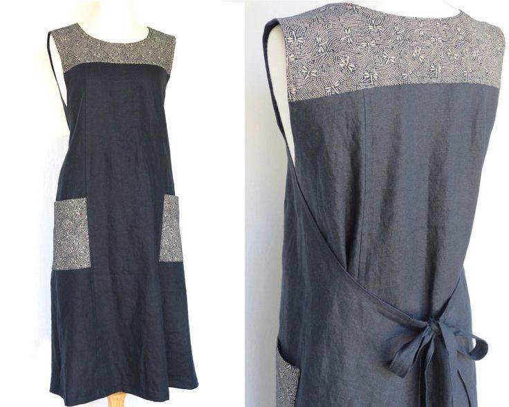 Apron / Women's wrap dress // by LinenStudioB