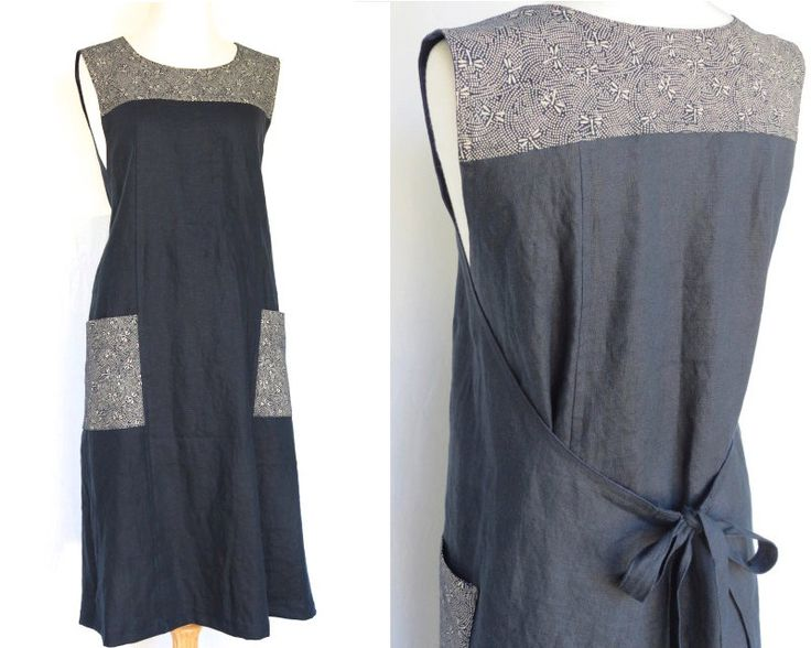 Women's wrap dress, Traditional Japanese print, Black linen, Handmade, Pinafore…