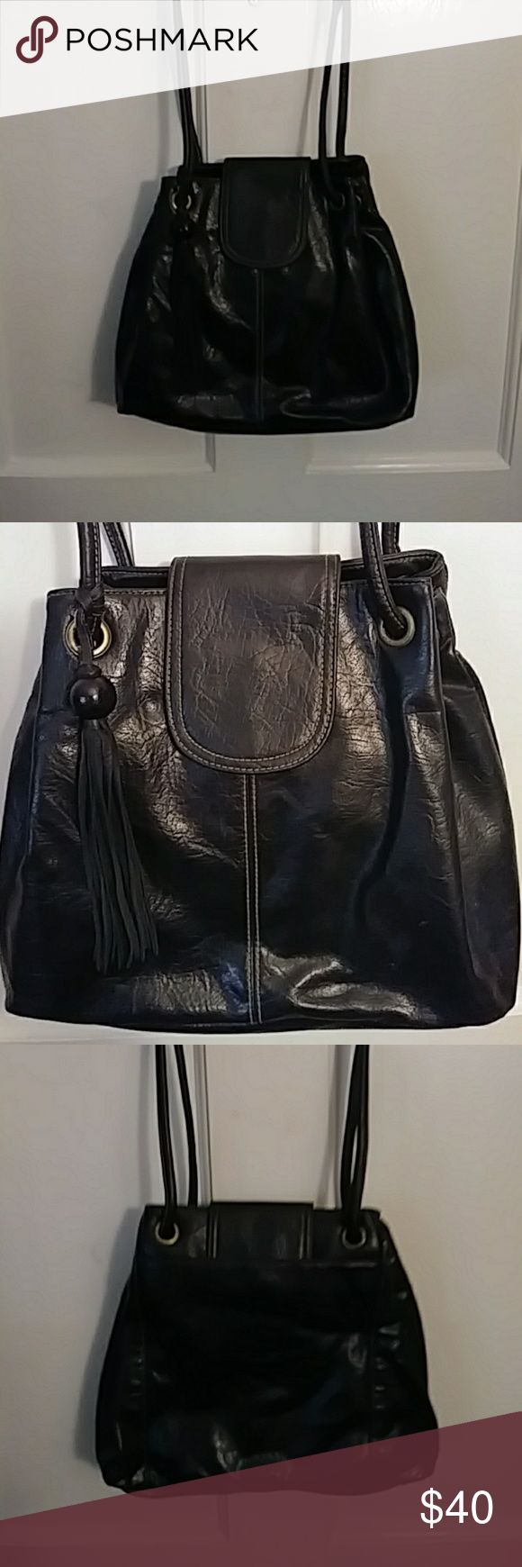 Black Leather Hobo Bag Gently used smooth leather  handbag with drawstring, tassel and topstiching. American Apparel Bags Hobos