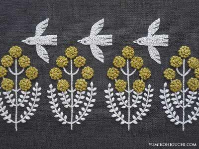 Little Bird Pon pon Flower by Japanese embroidery artist Yumiko Higuchi (b.1975). via the artist's blog