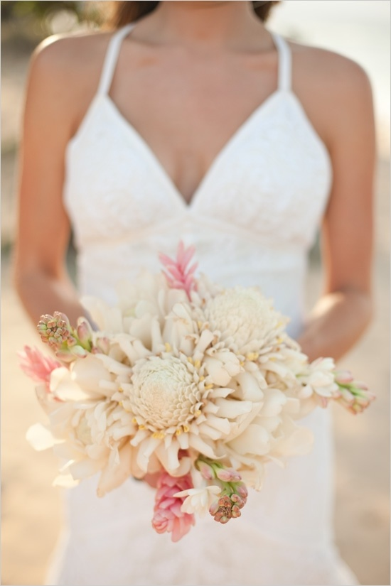 tropical wedding bouquet - love the color palette and the type of flowers - tuberose, eucalyptus, wild ginger, and orchids blissweddings