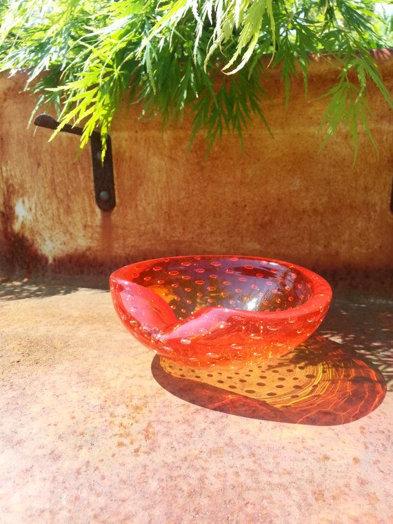 Murano 1950's red glass bubble glass bowl.. by fcollectables, €30.00