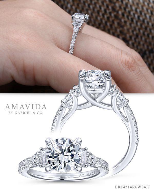Marzia 18k White Gold Round Straight Marzia Engagement Ring Round Diamond Engagement Rings Three Stone Engagement Rings White Gold Engagement Rings