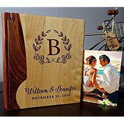 Personalized Wood Cover Photo Album, Custom Engraved Wedding Album, Style 105 (Maple & Walnut Cover)