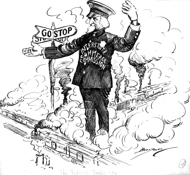 RAIL STRIKE, 1920: A huge nationwide freight car logjam resulted from a strike by railway workers. The Interstate Commerce Commission (ICC) was charged with assisting the railroad lines to break the logjam and get freight moving expeditiously. Berryman portrays Uncle Sam as an ICC traffic cop, directing the flow of railroad trains.