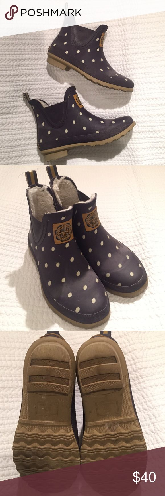 Joules Rain Boots Joules polka dot blue and white rain boots. Size is US 7, euro 38, I am a 7.5 and they fit me. Really cute!  Have been worn but still in great shape. Rubber on front has a faded line as seen in second picture. Joules Shoes Winter & Rain Boots