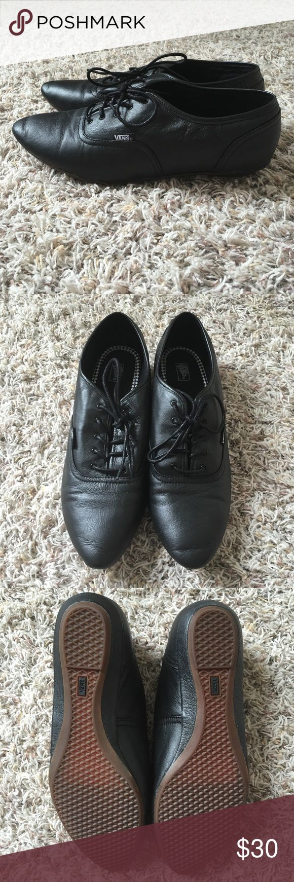 Leather Vans These black leather vans with a pointy toe are super cute! My favorite way to see these is with a rolled up pair of skinny jeans, but you can really wear them with anything. Only wore these a couple times and still look brand new! Has a 0.75 inch mini wedge heel for that extra boost. Vans Shoes