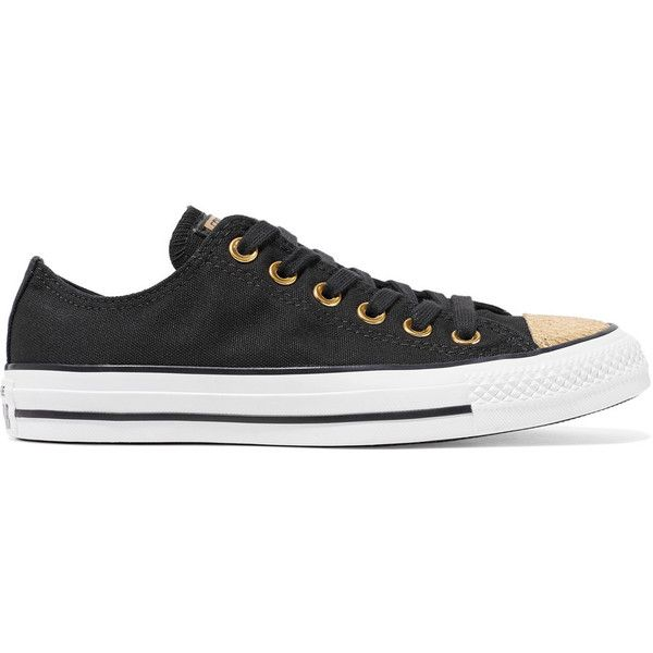 Converse Chuck Taylor All Star metallic snake-effect leather-trimmed... (210 BRL) ❤ liked on Polyvore featuring shoes, sneakers, black leather lace up shoes, metallic shoes, plimsoll sneakers, canvas sneakers and canvas sneakers shoes