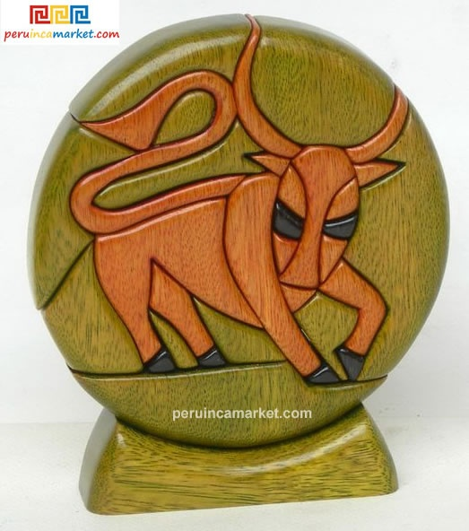 Wooden sculpture - Taurus zodiac handcarved from ishpingo Amazon wood. Peruvian artwork. US $ 48.00 free shipping from peruincamarket