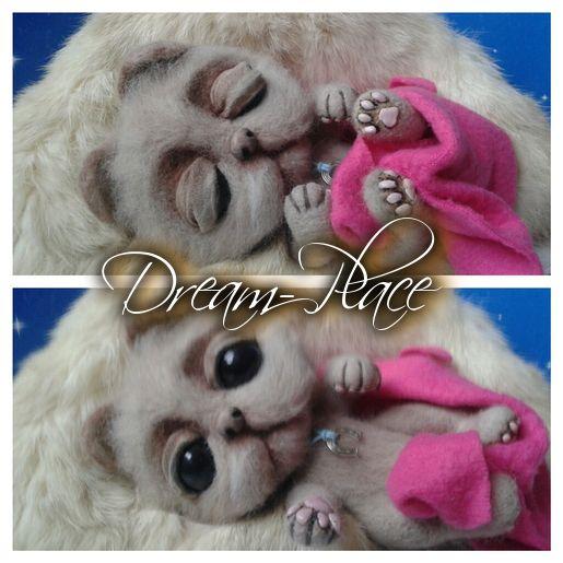 Needle felting Cat #cat #little #cub #ooak #handmade #needle #felted  #felting #felt #rękodzieło #anna #nowak #dreamplace #dream #place #critters
