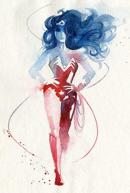 Superhero Watercolor Paintings by French artist Blule:  Wonder Woman