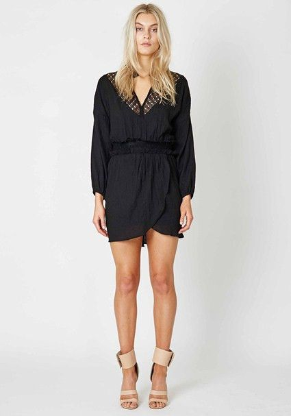 Three Of Something - Knotted Dress Long Sleeve Dress Black