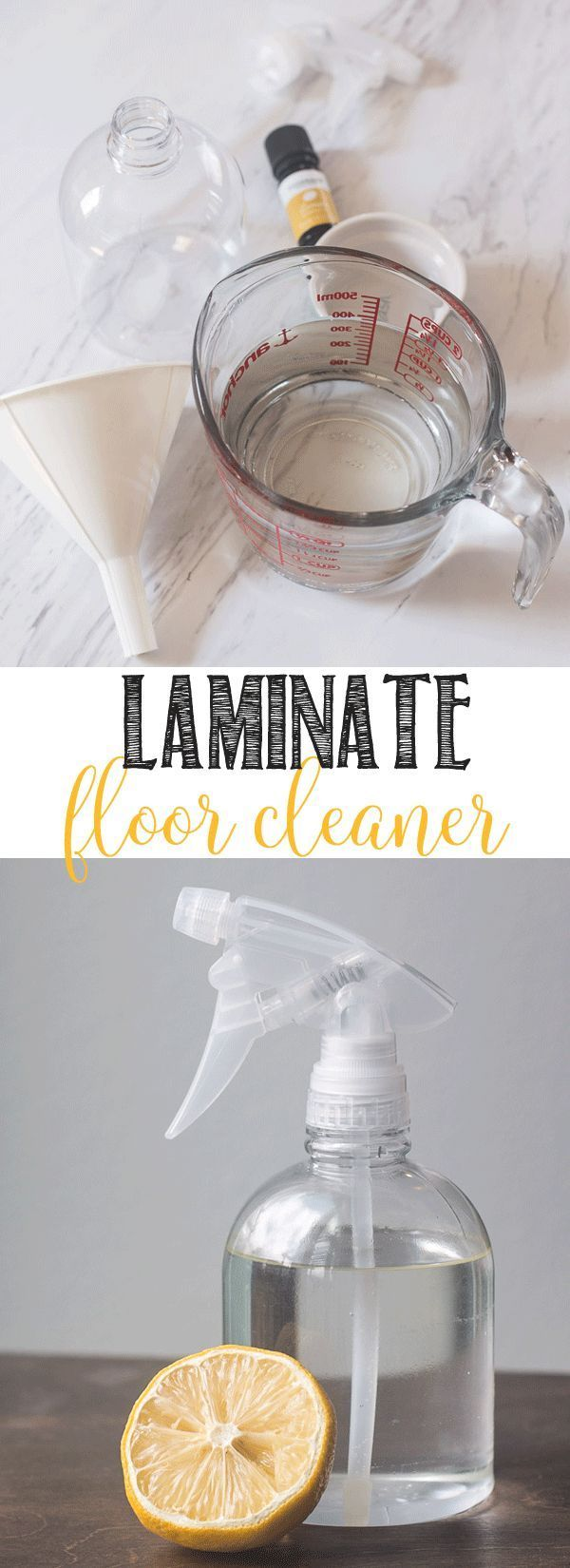 LAMINATE FLOOR CLEANER SUPPLIES {AFFILIATE LINKS INCLUDED FOR YOUR CONVENIENCE} spray bottle water – 1 3/4 cups white vinegar – 2 tablespoons essential oil (I love lemon or peppermint and lavender together) – 6 to 8 drops funnel – makes the job easier mop