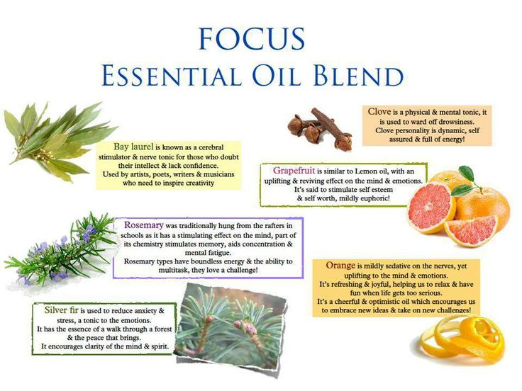 Focus Blend Essential Oil - This blend of spearmint and rosemary helps clear the head and refocus the mind. It will help you tackle difficult tasks and academic learning with renewed vigor and clarity. www.us.nyrorganic.com/shop/JulieWolf/area/shop-online/category/essential-oils/product/2709/aromatherapy-blend-focus-0-34fl-oz/