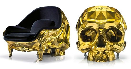 Gold Skull Armchair by Harow