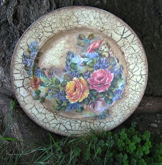 Let's learn how to do this beautiful decoupage plates :) + crackle