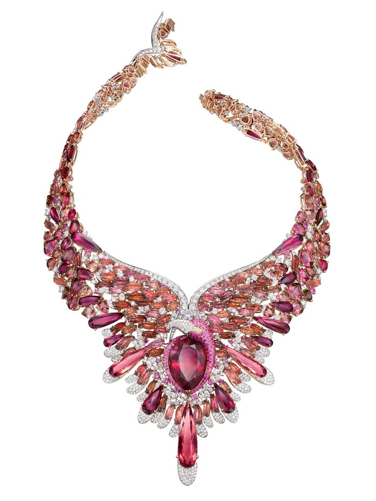 GABRIELLE'S AMAZING FANTASY CLOSET | The Flamingo Rouge necklace in 18k rose and white gold with pink sapphires, diamonds and red tourmalines. |