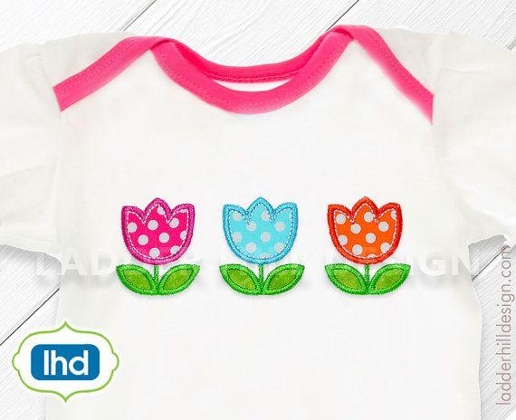 Tulip Applique - Triple Tulips Applique Machine Embroidery Design No.  EA013