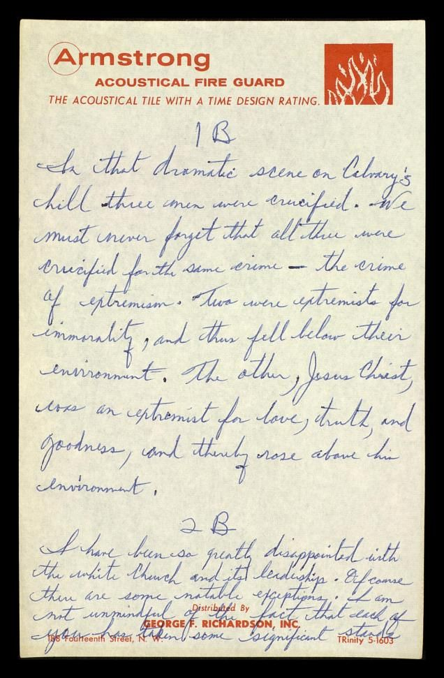 dr martin luther king jr s handwritten notes the king center  dr martin luther king jr s handwritten notes the king center archive his letter from the birmingham jail is certainly striking