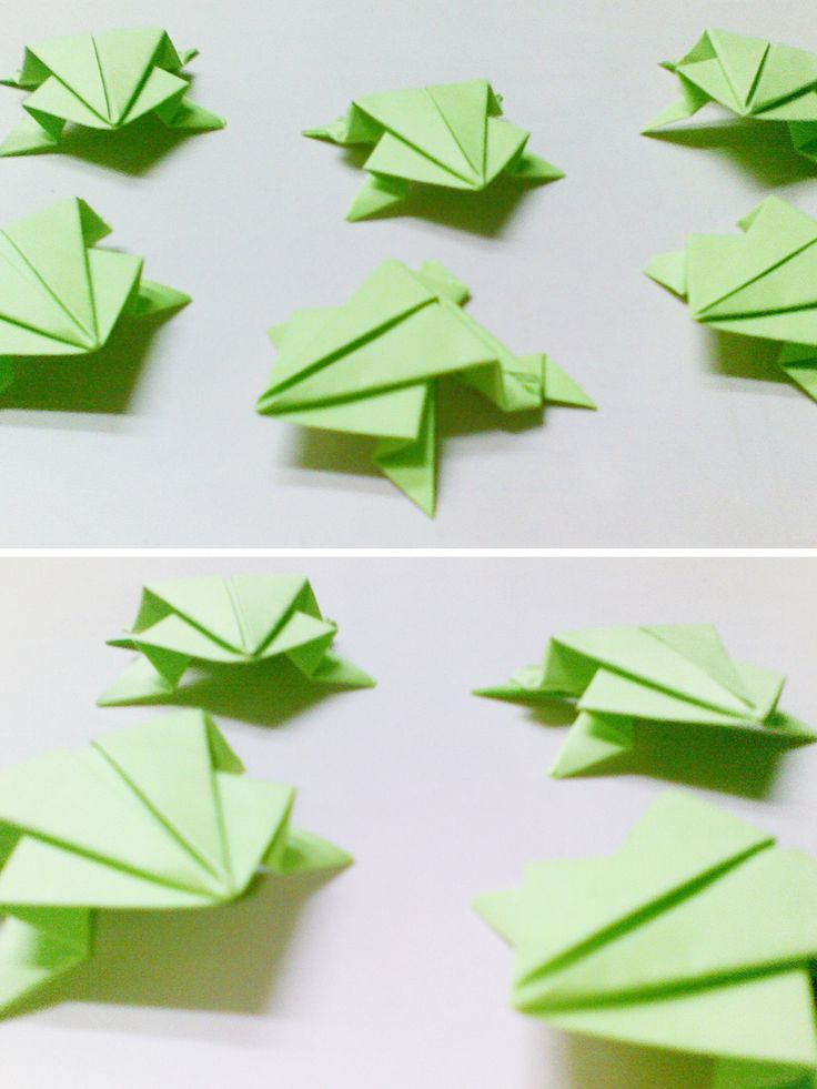 Very Simple Origami Frogs - http://www.ikuzoorigami.com/very-simple-origami-frogs/
