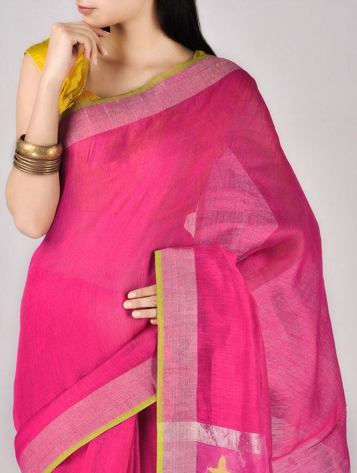 Pink Zari Silk Saree. $175