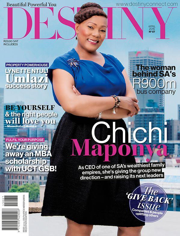Chichi Maponya, Destiny April 2015 Cover