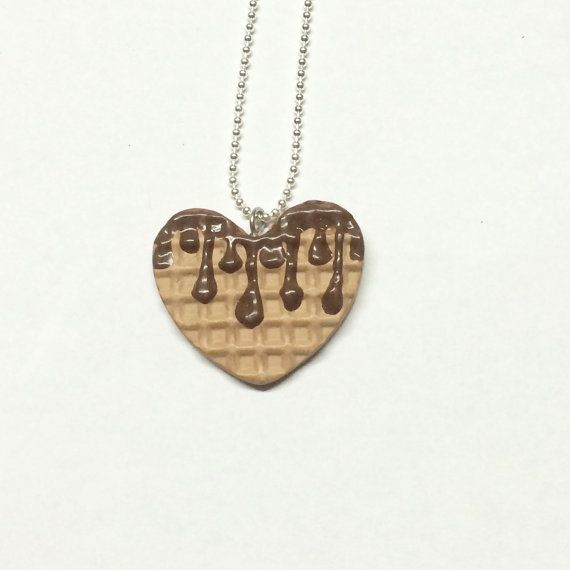 Necklace  Miniature Food Heart Shaped Waffle by SocietyInCrisis