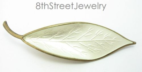 Willy-Winnaess-David-Andersen-Norway-Sterling-Silver-925S-Green-Enamel-Leaf-Pin