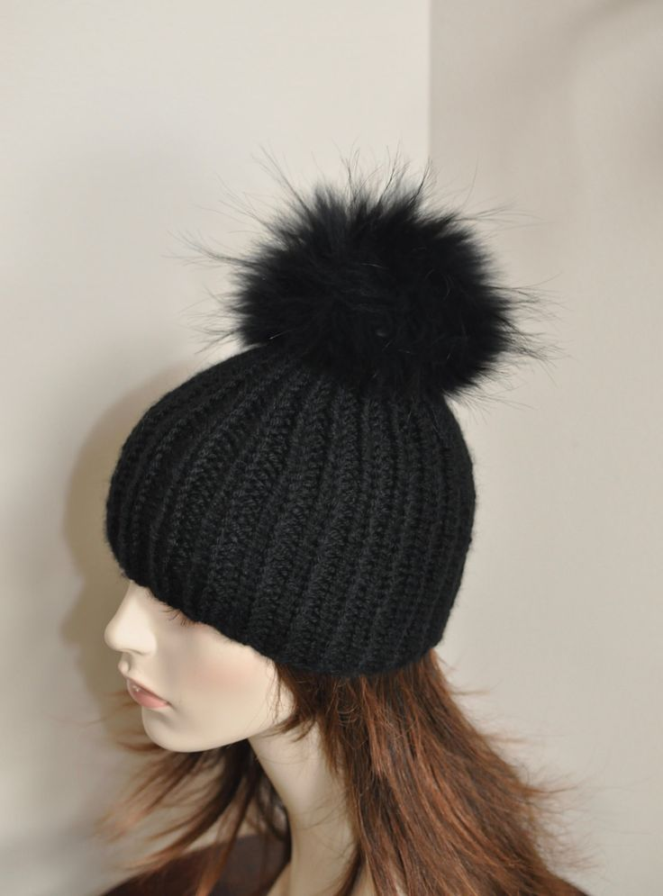 PomPom Beanie 100% CASHMERE Chunky Knit Beanie Hat Fur pompom Ribbed Beanie Black Hat Double Bobbles Black hat Christmas Gift by lucymir on Etsy