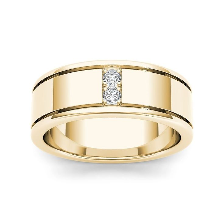Seal your commitment to him with this yellow gold wedding band that is just his style. Emitting pristine brilliance through-out, eight round-cut diamonds are prong-set that reflect light within the gold band.