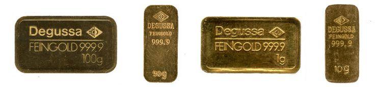 Verschiedene Goldbarren der Degussa AG