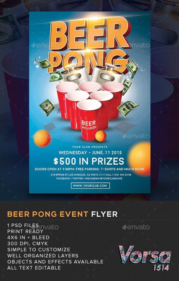 bar beer pong club college drink drinks event flyer game