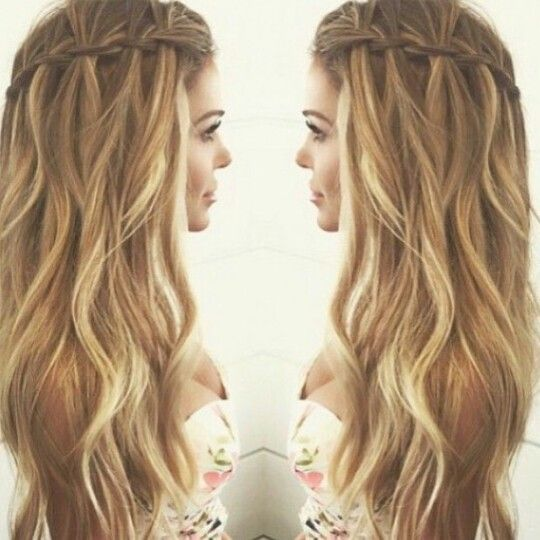 Gorgeous wavy hair with waterfall braid