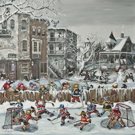 Cette toile de Pauline Paquin nous emportent dans une atmosphère d'un hiver québécois typique. Les jeunes joueurs de hockey jouant sur la surface glacé à une température tel nous rappelle le frisquet de l'hiver. Le blanc de la neige omnis présent sur ce tableau fait ressortir les chandails rouges du Canadien et les joues rouges des jeunes pratiquant le hockey.