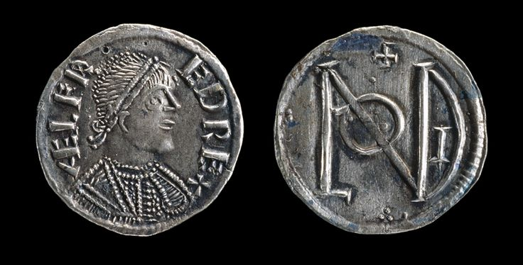 Viking age / A silver penny of King Alfred the Great. It has a picture of the king on one side (the 'head') of the coin.