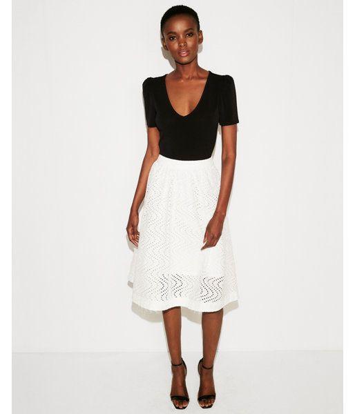 1a7b8f34f8 Eyelet Full Cotton Midi Skirt White Women's 00   Products   Cotton ...