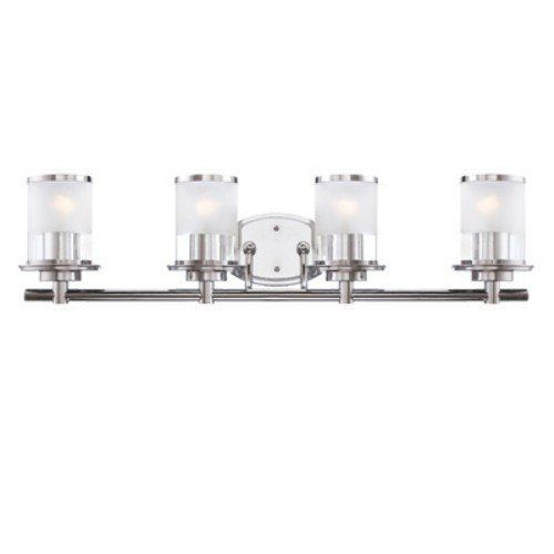 Designers Fountain 6694-CH Essence Four Light Bath Bar, Chrome Finish with Sand/Clear Glass by Designers Fountain. $143.55. This Bath and Vanity is part of the Essence Family.  Transitional styling comes together with two-tone shades and a crisp chrome finish in this beautiful bath bar. Add useful ambient light to any bathroom or vanity area with this versatile fixture suitable for both damp and dry locations. Versatile and beautiful, this fixture will add a touch of...